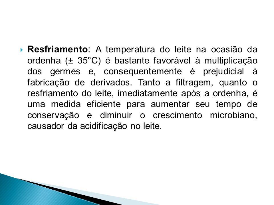 Resfriamento: A temperatura do leite na ocasião da ordenha (± 35°C) é bastante favorável à multiplicação dos germes e, consequentemente é prejudicial à fabricação de derivados.