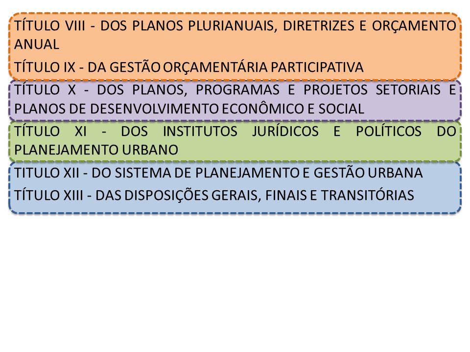 TÍTULO VIII - DOS PLANOS PLURIANUAIS, DIRETRIZES E ORÇAMENTO ANUAL