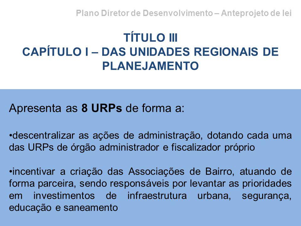 CAPÍTULO I – DAS UNIDADES REGIONAIS DE PLANEJAMENTO