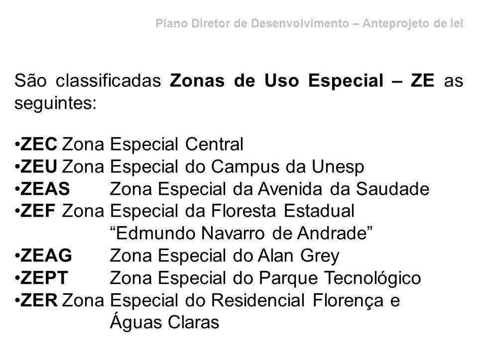 São classificadas Zonas de Uso Especial – ZE as seguintes: