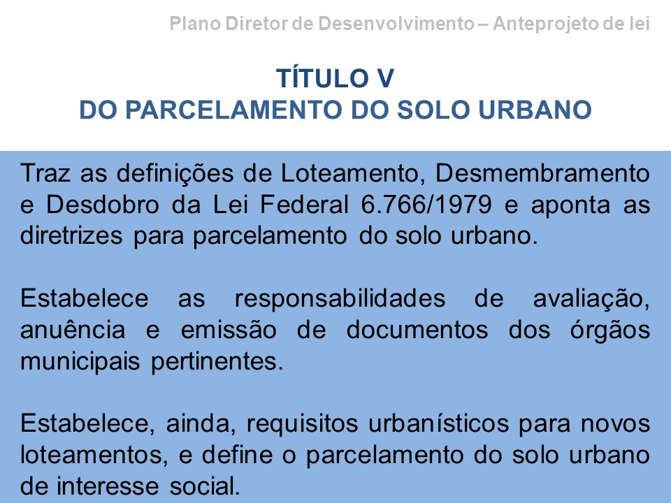 DO PARCELAMENTO DO SOLO URBANO