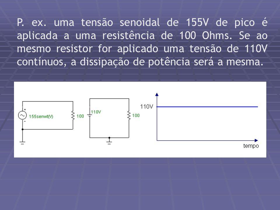 P. ex. uma tensão senoidal de 155V de pico é aplicada a uma resistência de 100 Ohms.