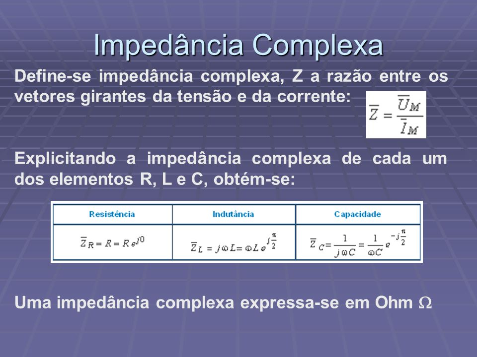 Impedância Complexa Define-se impedância complexa, Z a razão entre os vetores girantes da tensão e da corrente: