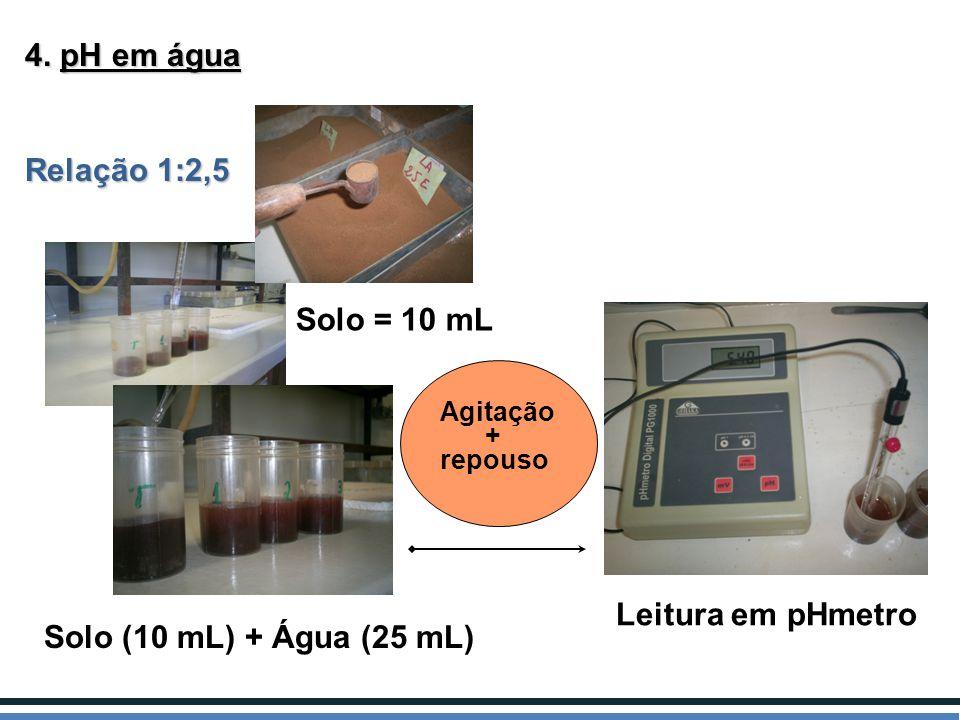 4. pH em água Relação 1:2,5 Solo = 10 mL Leitura em pHmetro