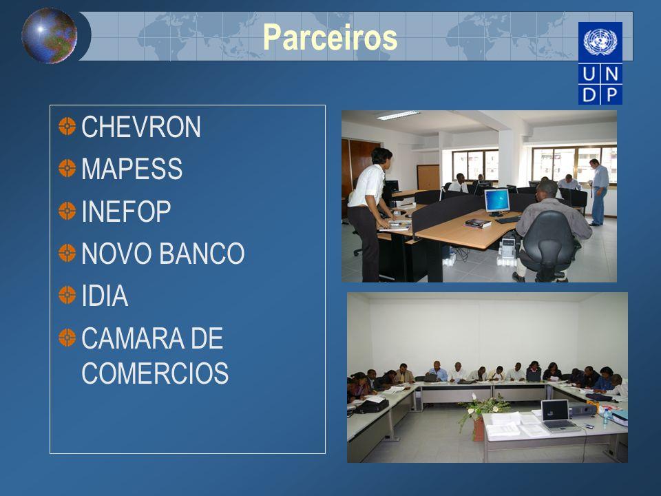 Parceiros CHEVRON MAPESS INEFOP NOVO BANCO IDIA CAMARA DE COMERCIOS