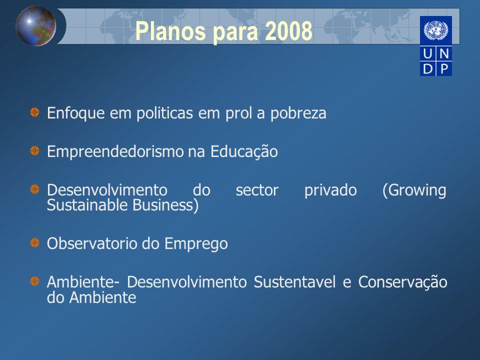 Planos para 2008 Enfoque em politicas em prol a pobreza