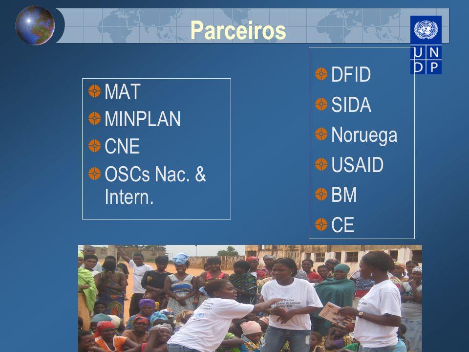 Parceiros DFID SIDA MAT Noruega MINPLAN USAID CNE BM