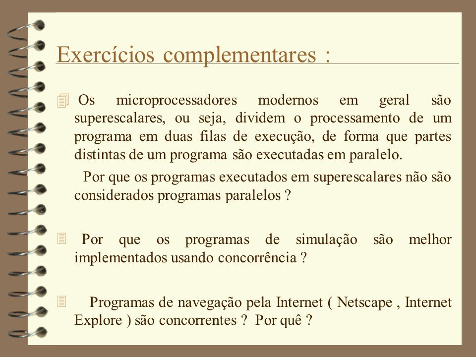 Exercícios complementares :