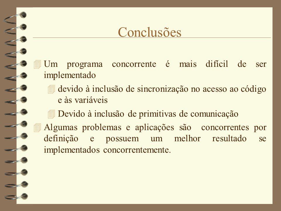 Conclusões Um programa concorrente é mais difícil de ser implementado