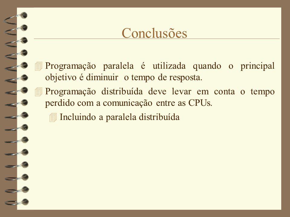 Conclusões Programação paralela é utilizada quando o principal objetivo é diminuir o tempo de resposta.