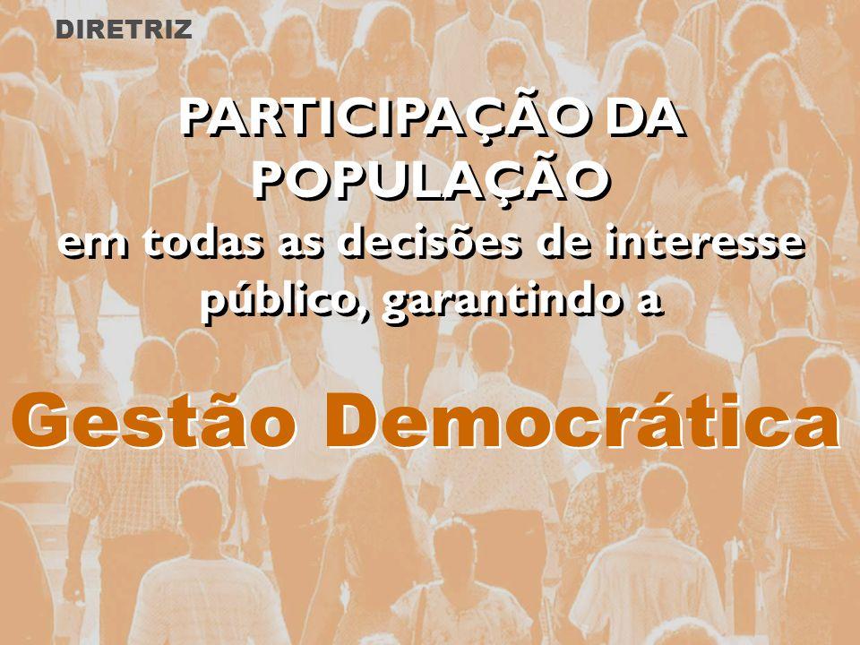 Gestão Democrática PARTICIPAÇÃO DA POPULAÇÃO