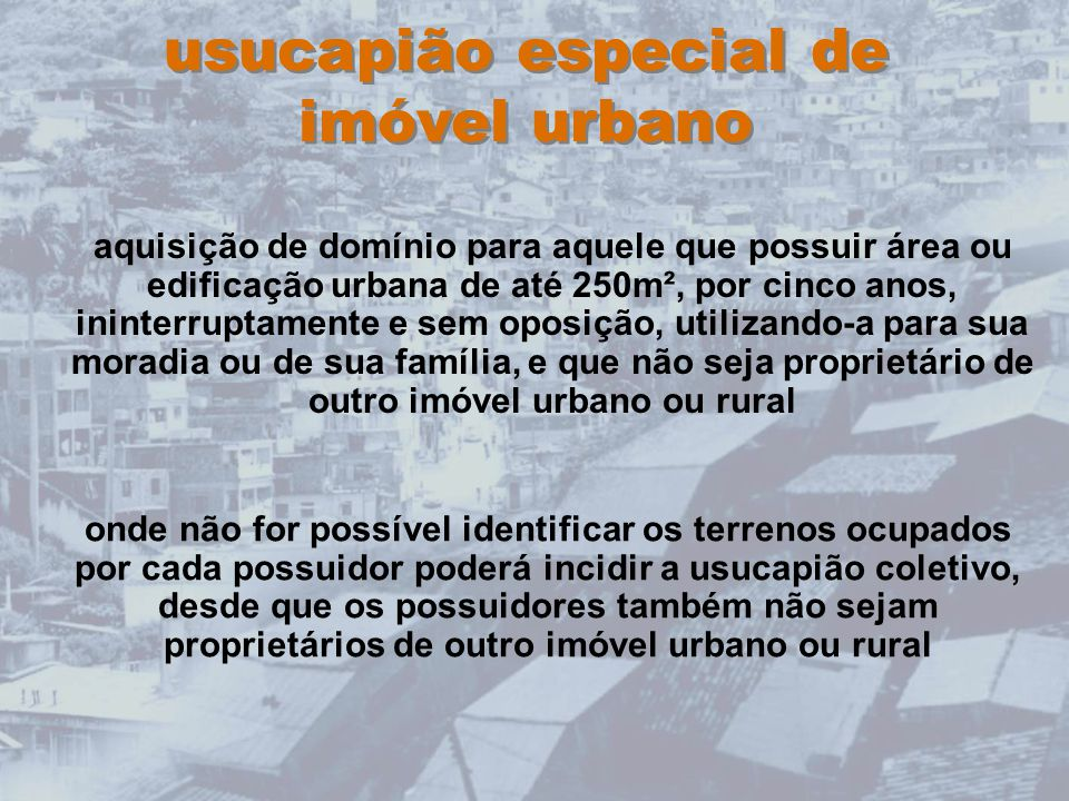 usucapião especial de imóvel urbano