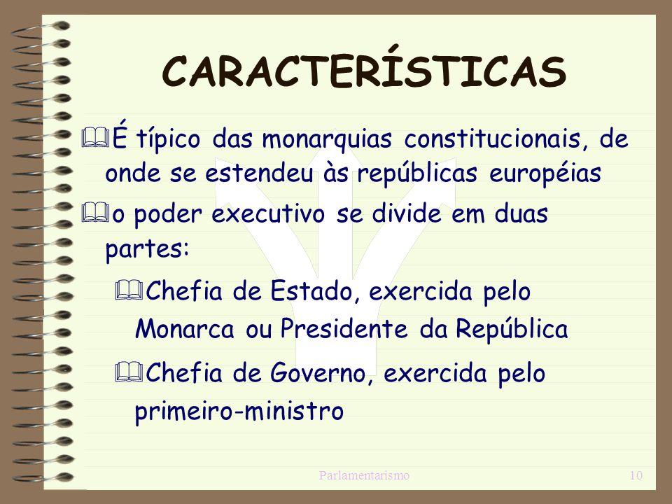 CARACTERÍSTICAS É típico das monarquias constitucionais, de onde se estendeu às repúblicas européias.