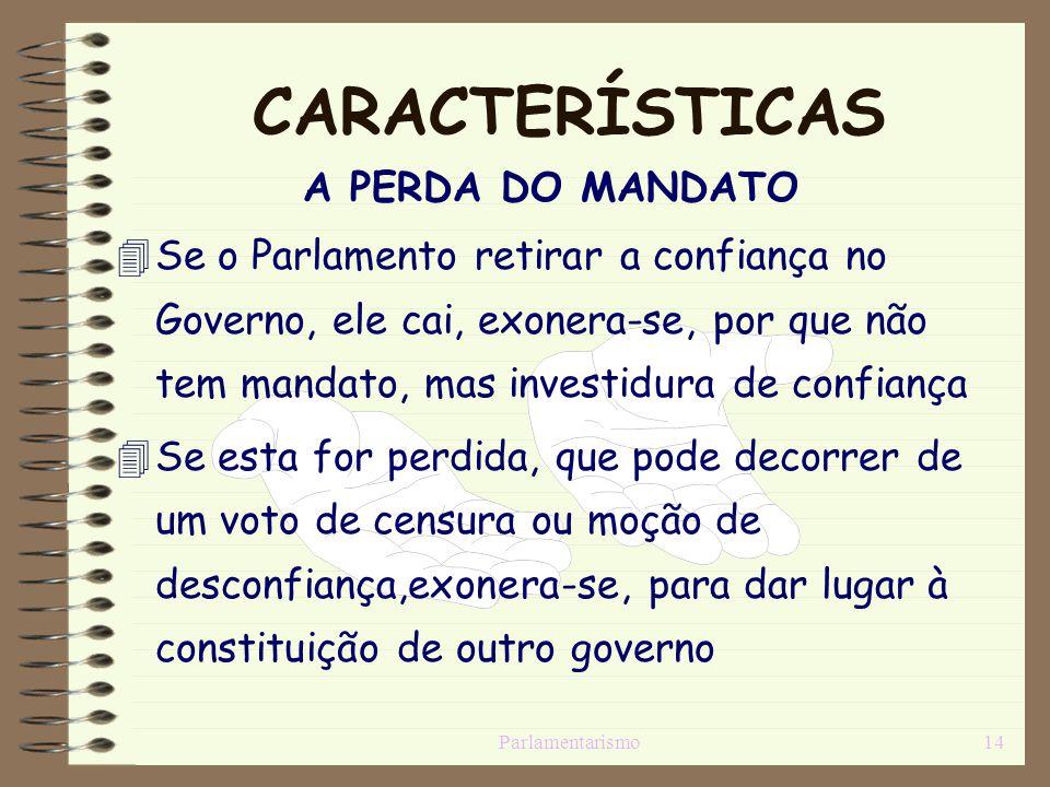 CARACTERÍSTICAS A PERDA DO MANDATO