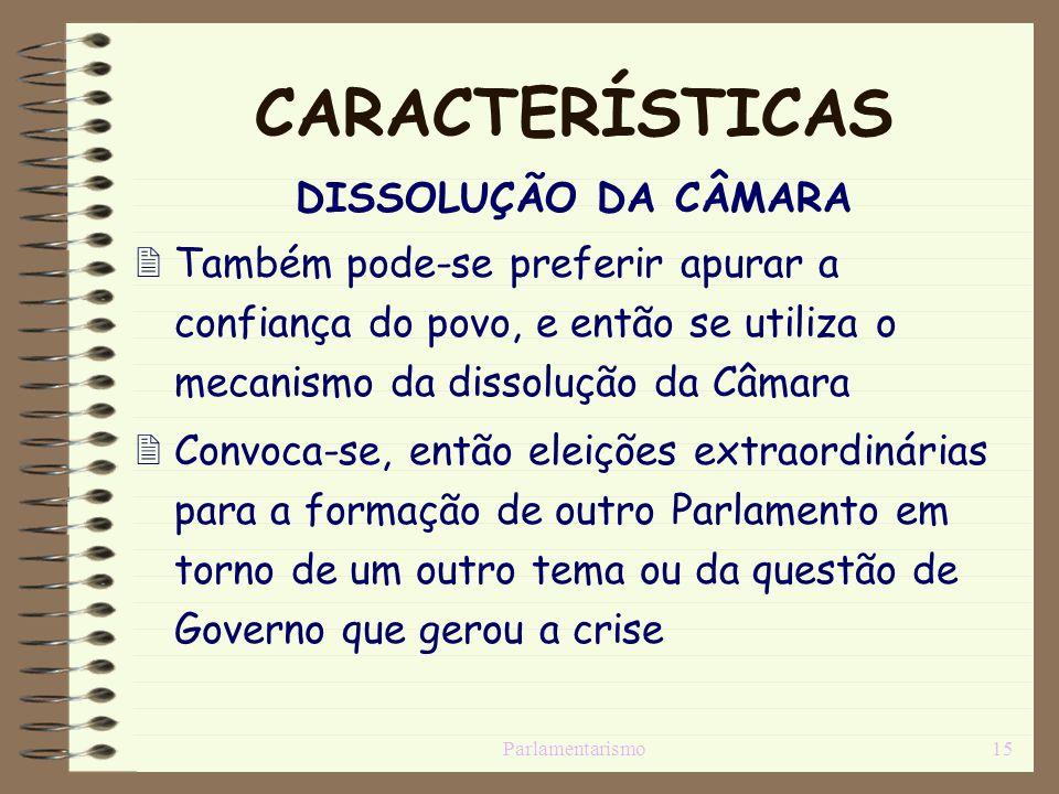 CARACTERÍSTICAS DISSOLUÇÃO DA CÂMARA