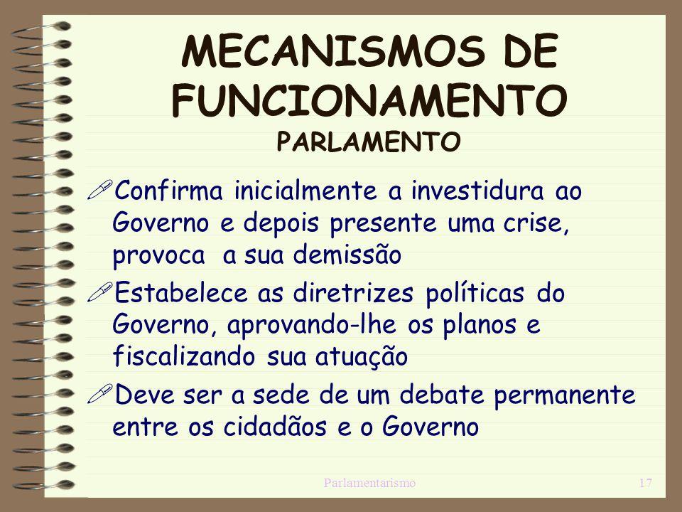 MECANISMOS DE FUNCIONAMENTO PARLAMENTO