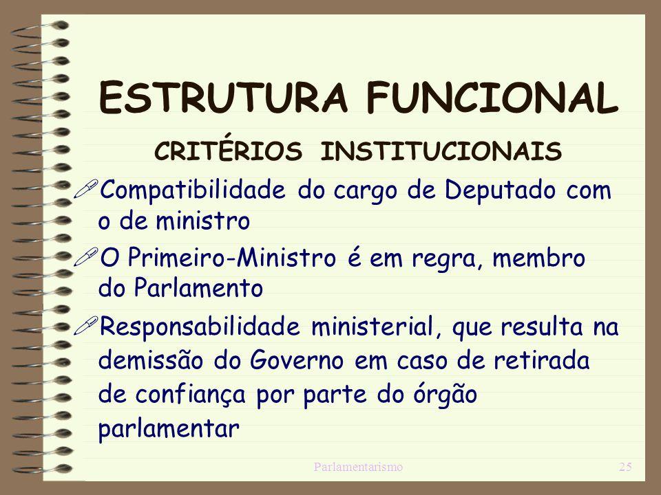 ESTRUTURA FUNCIONAL CRITÉRIOS INSTITUCIONAIS