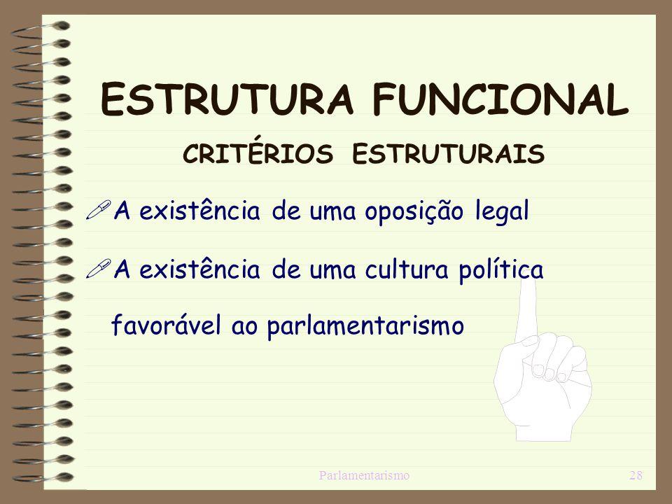 ESTRUTURA FUNCIONAL CRITÉRIOS ESTRUTURAIS