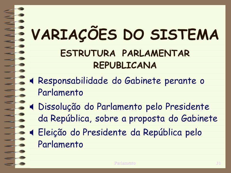 VARIAÇÕES DO SISTEMA ESTRUTURA PARLAMENTAR REPUBLICANA