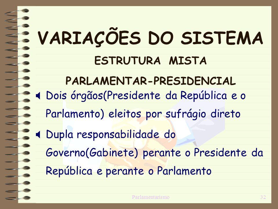 VARIAÇÕES DO SISTEMA ESTRUTURA MISTA PARLAMENTAR-PRESIDENCIAL