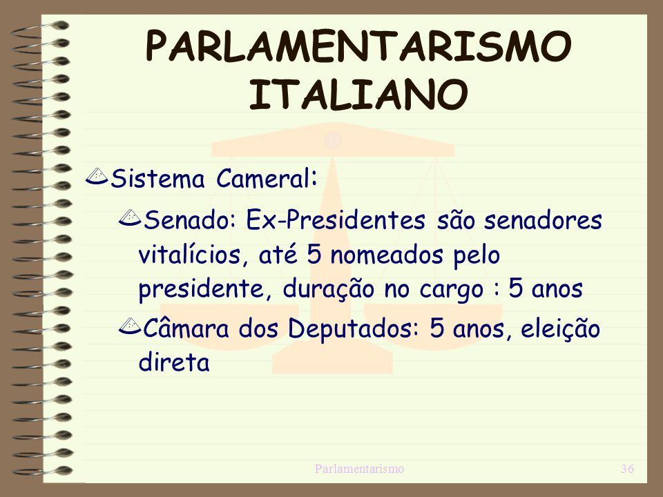 PARLAMENTARISMO ITALIANO