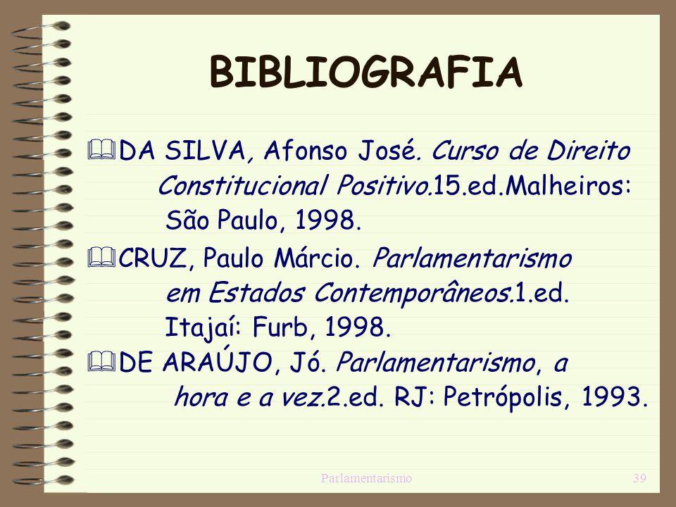 BIBLIOGRAFIA DA SILVA, Afonso José. Curso de Direito