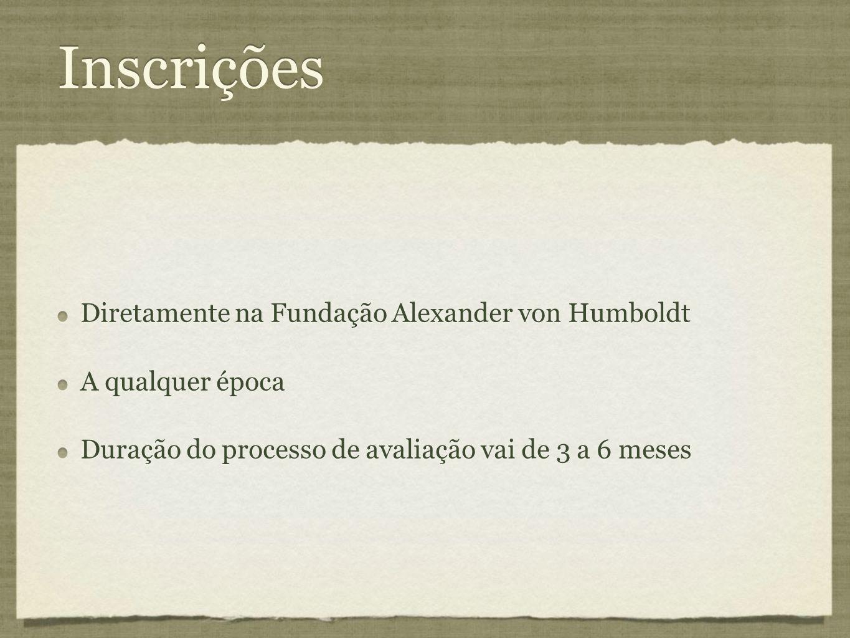 Inscrições Diretamente na Fundação Alexander von Humboldt