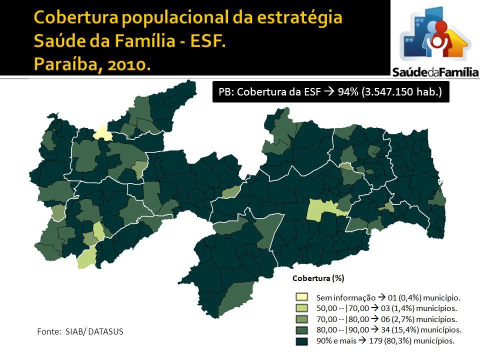Cobertura populacional da estratégia Saúde da Família - ESF