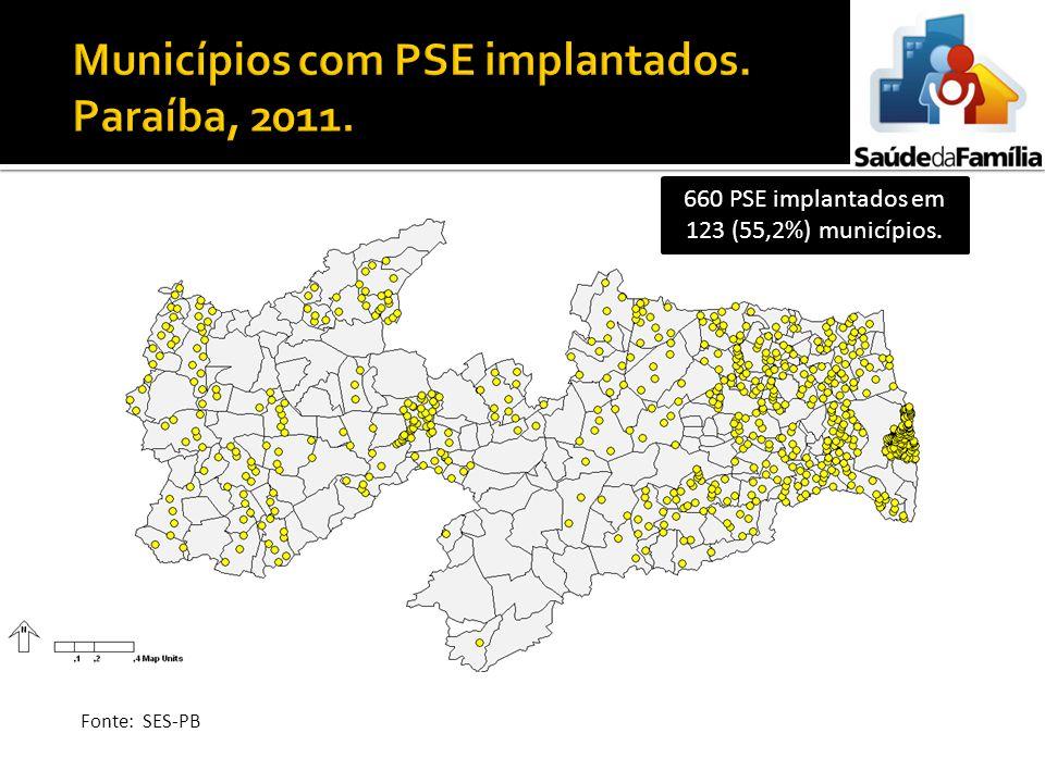 Municípios com PSE implantados. Paraíba, 2011.