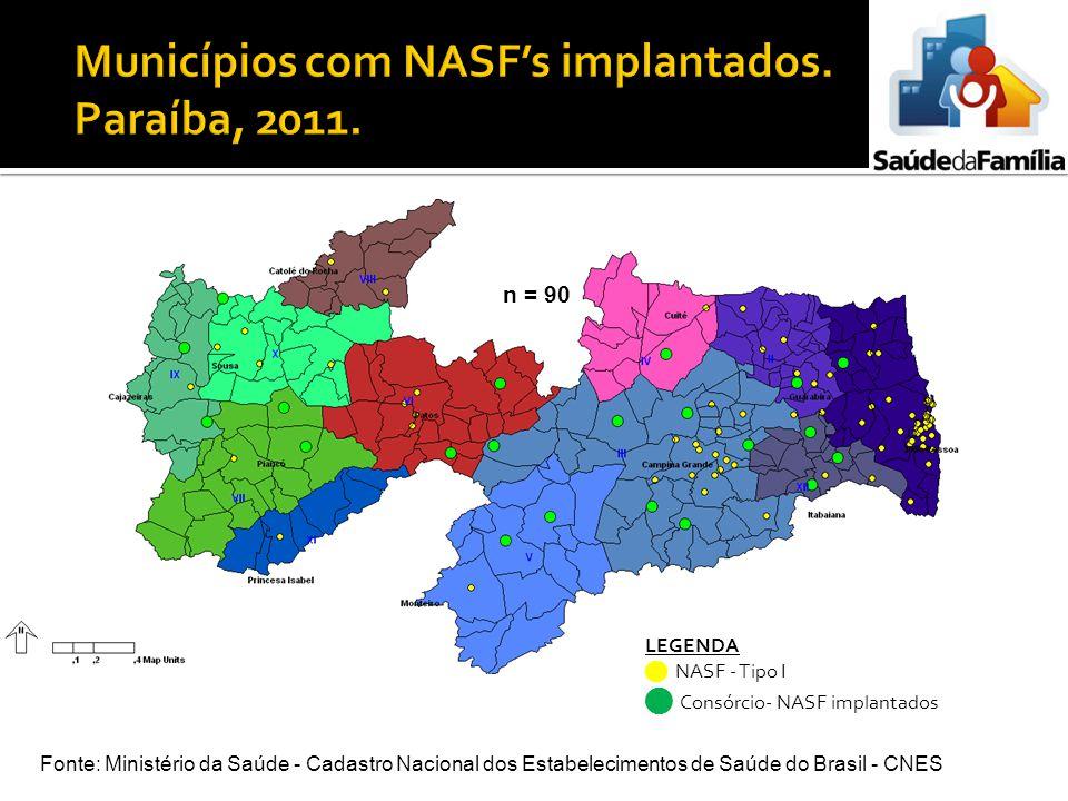 Municípios com NASF's implantados. Paraíba, 2011.