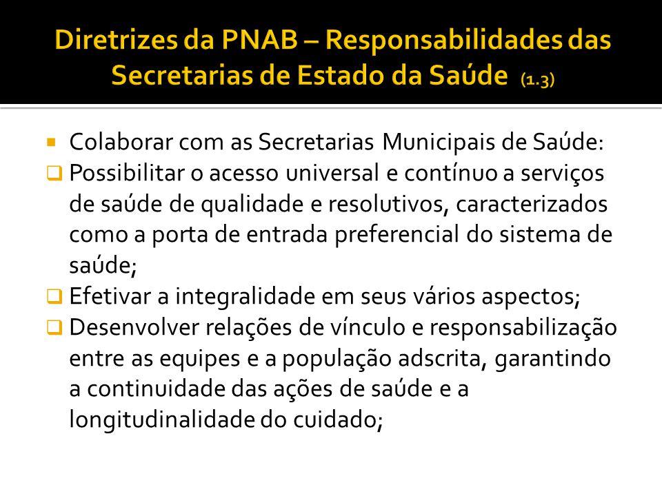 Diretrizes da PNAB – Responsabilidades das Secretarias de Estado da Saúde (1.3)