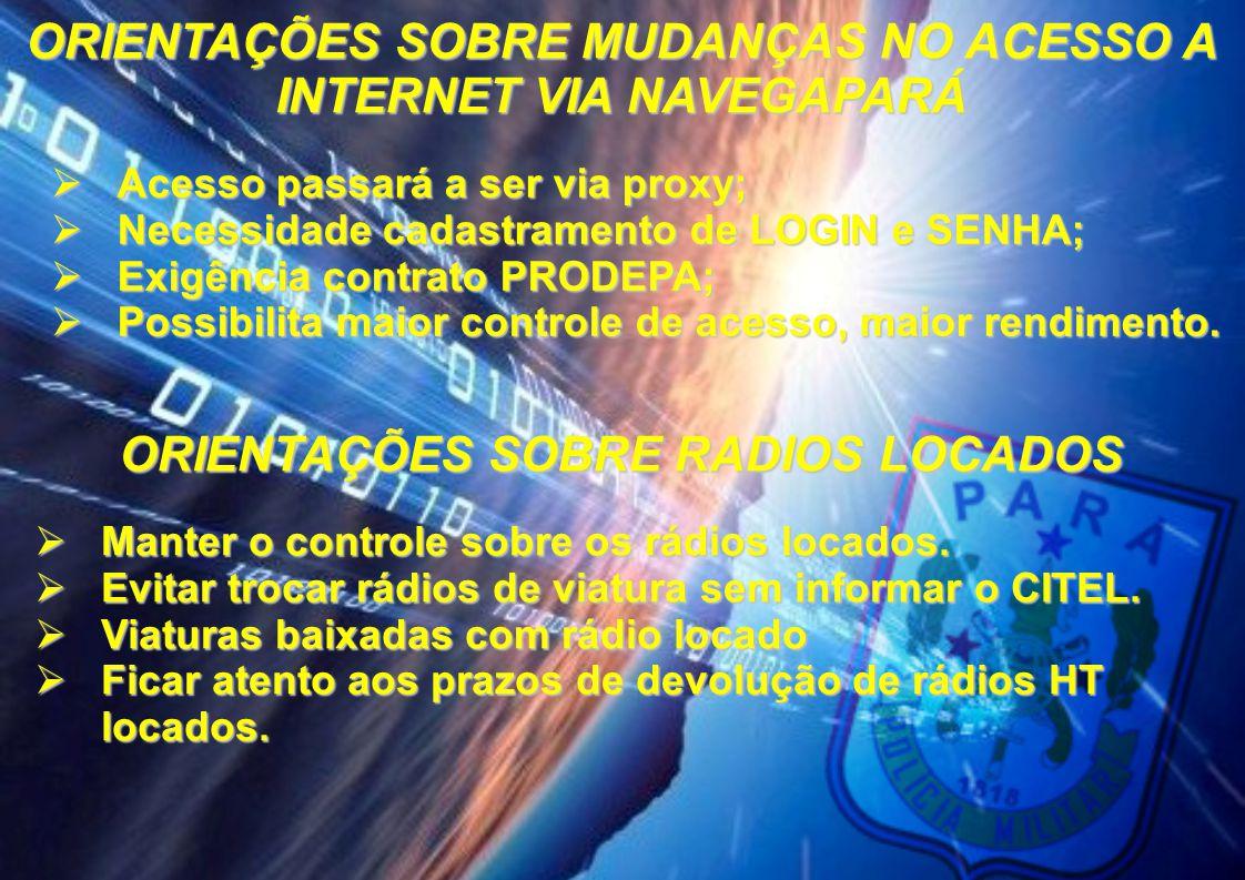 ORIENTAÇÕES SOBRE MUDANÇAS NO ACESSO A INTERNET VIA NAVEGAPARÁ