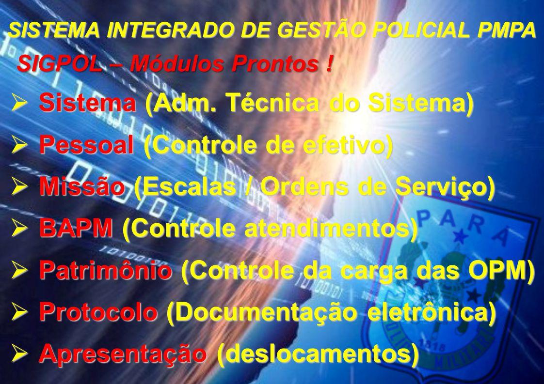 SISTEMA INTEGRADO DE GESTÃO POLICIAL PMPA SIGPOL – Módulos Prontos !
