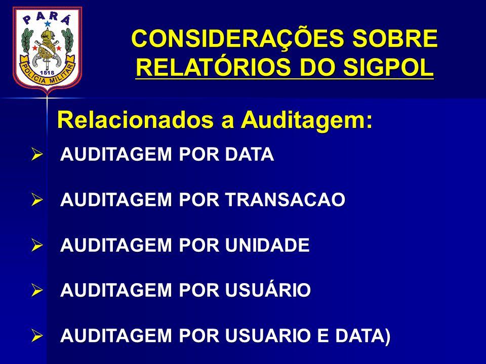 CONSIDERAÇÕES SOBRE RELATÓRIOS DO SIGPOL