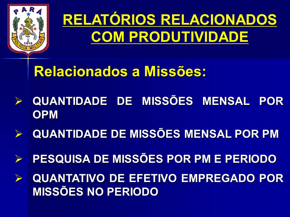 RELATÓRIOS RELACIONADOS COM PRODUTIVIDADE