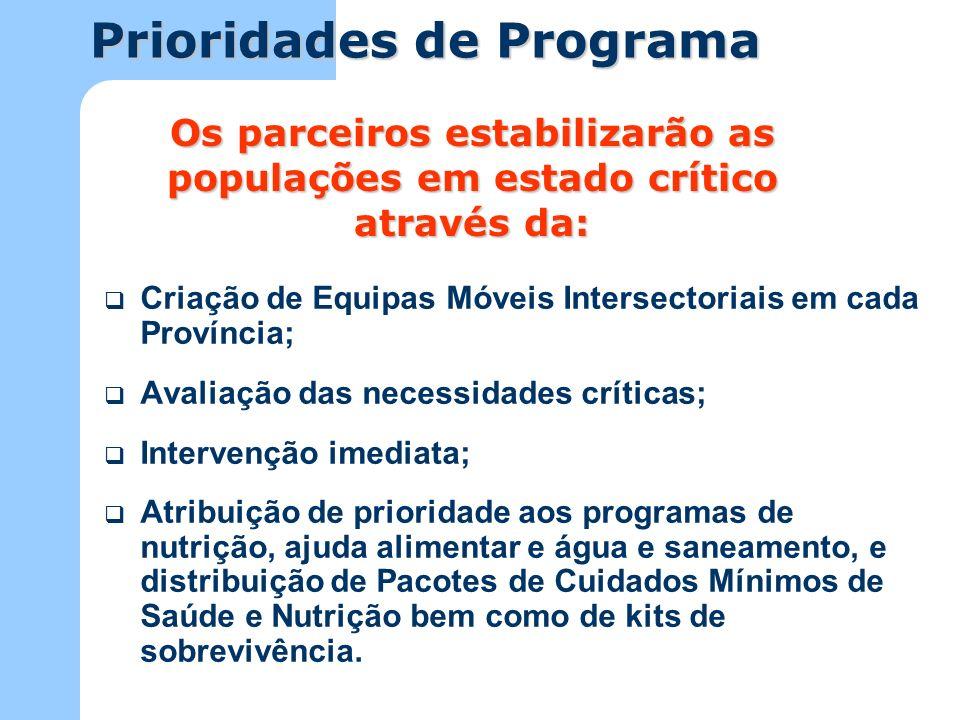 Os parceiros estabilizarão as populações em estado crítico através da:
