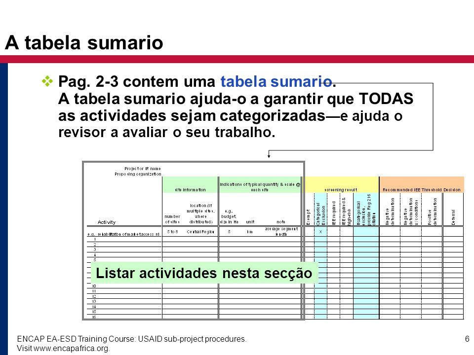 A tabela sumario