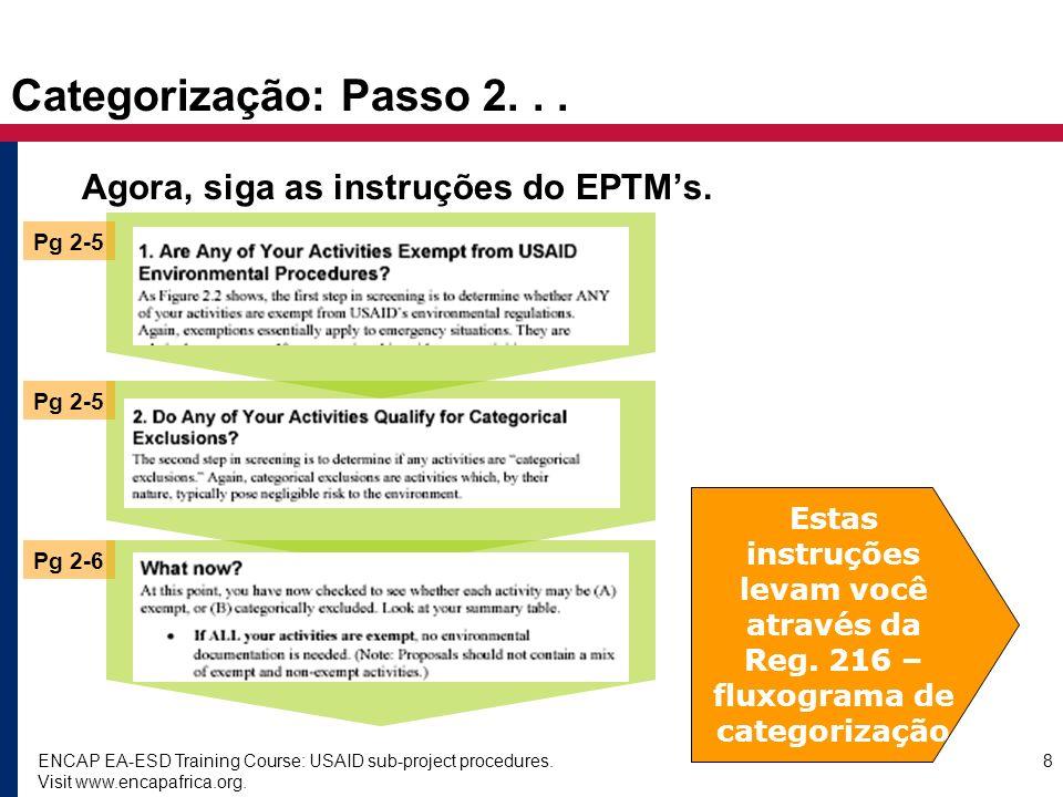 Categorização: Passo 2. . . Agora, siga as instruções do EPTM's.