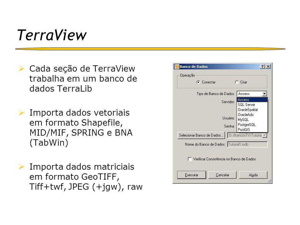 TerraView Cada seção de TerraView trabalha em um banco de dados TerraLib.