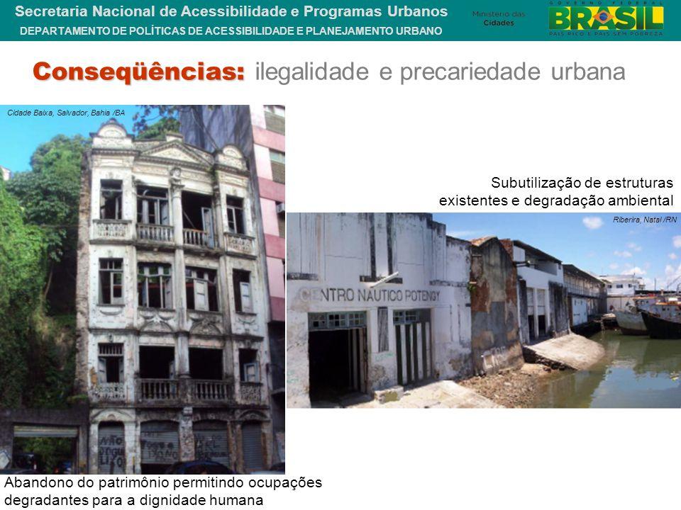 Conseqüências: ilegalidade e precariedade urbana