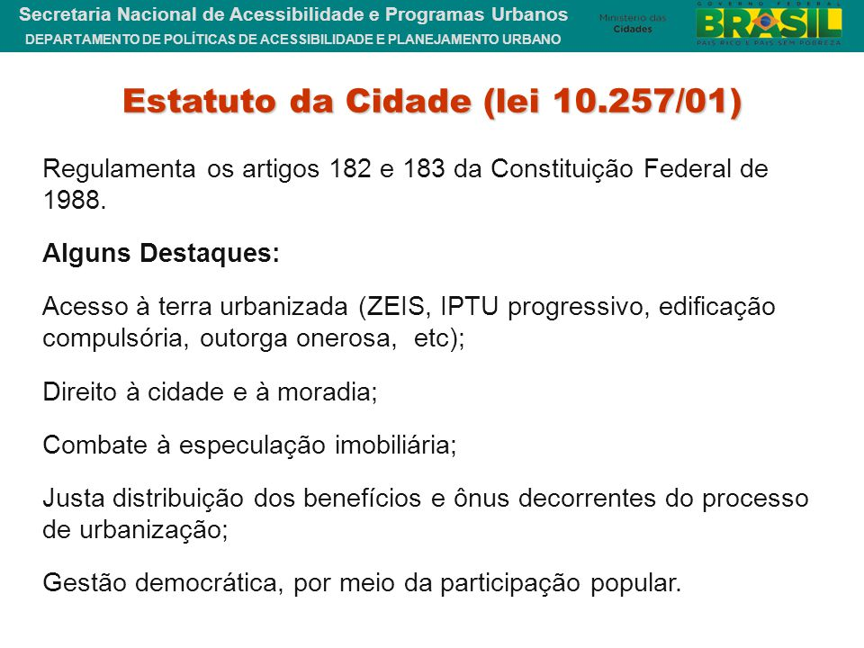 Estatuto da Cidade (lei 10.257/01)