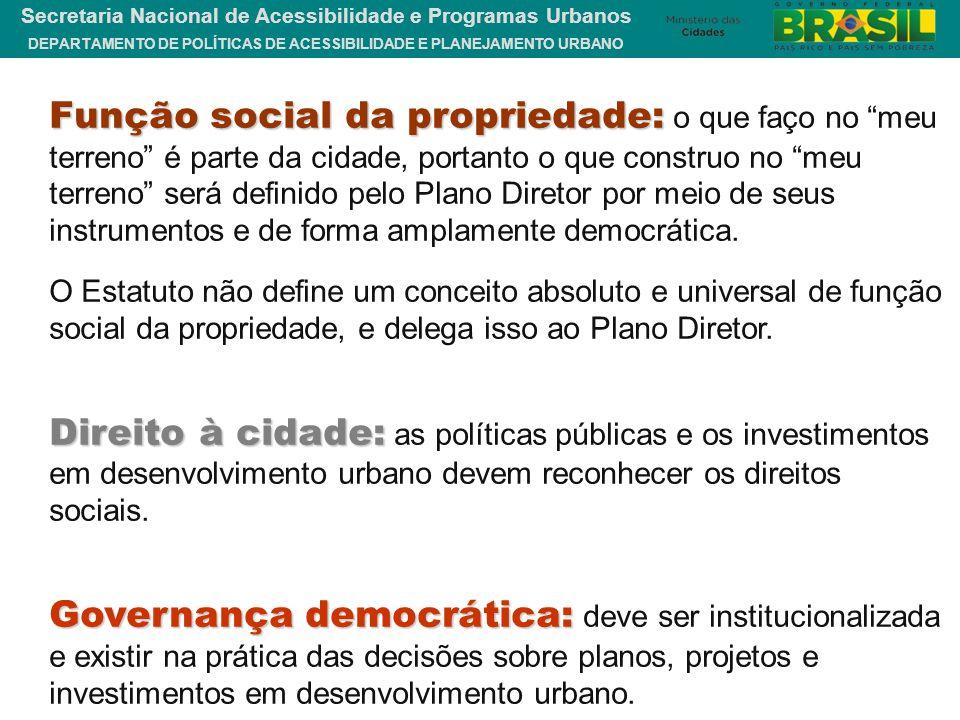 Função social da propriedade: o que faço no meu terreno é parte da cidade, portanto o que construo no meu terreno será definido pelo Plano Diretor por meio de seus instrumentos e de forma amplamente democrática.