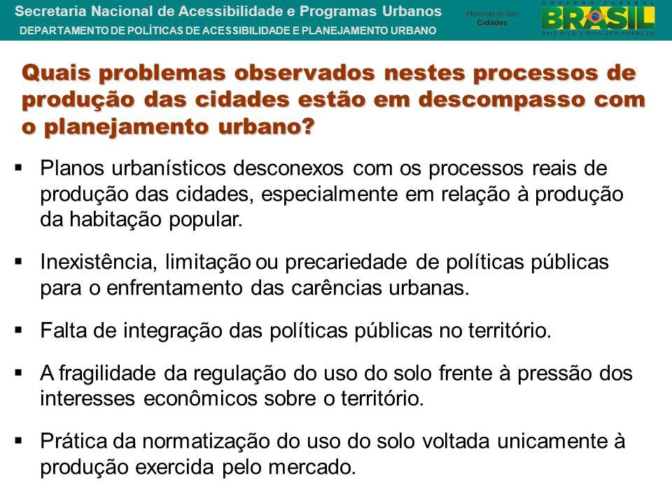 Quais problemas observados nestes processos de produção das cidades estão em descompasso com o planejamento urbano