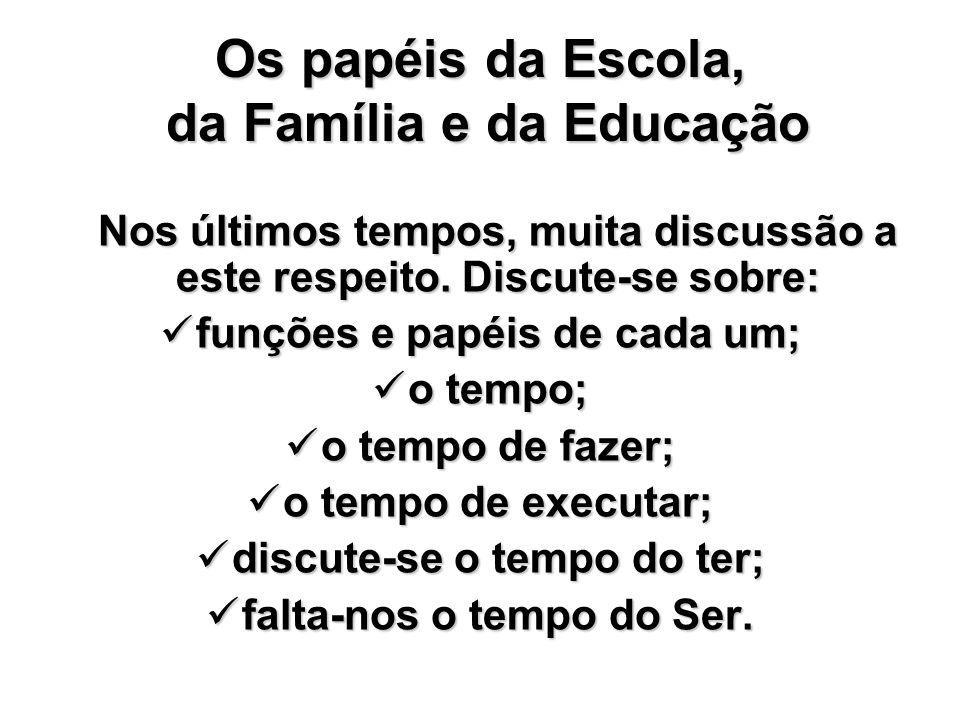 Os papéis da Escola, da Família e da Educação