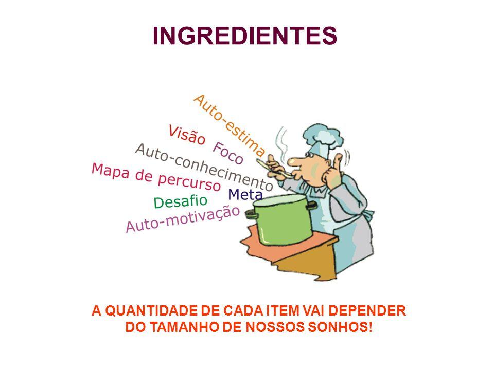 A QUANTIDADE DE CADA ITEM VAI DEPENDER DO TAMANHO DE NOSSOS SONHOS!