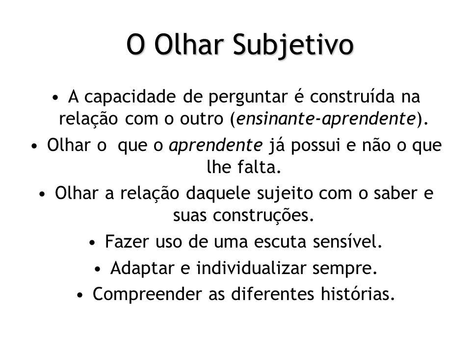 O Olhar Subjetivo A capacidade de perguntar é construída na relação com o outro (ensinante-aprendente).