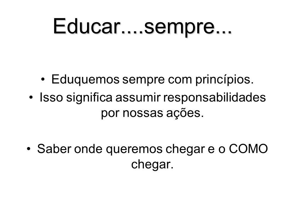 Educar....sempre... Eduquemos sempre com princípios.