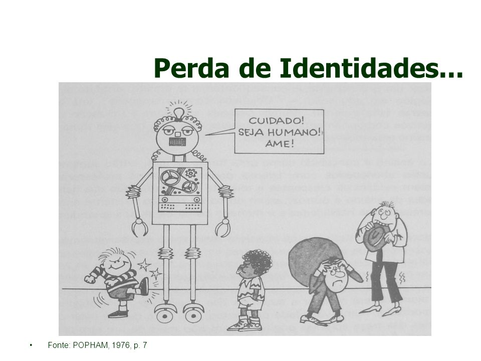 Perda de Identidades... Fonte: POPHAM, 1976, p. 7