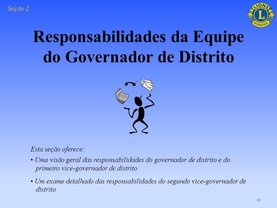 Responsabilidades da Equipe do Governador de Distrito