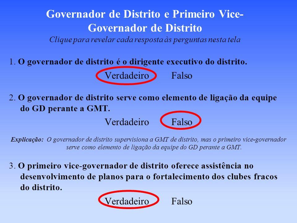 Governador de Distrito e Primeiro Vice-Governador de Distrito